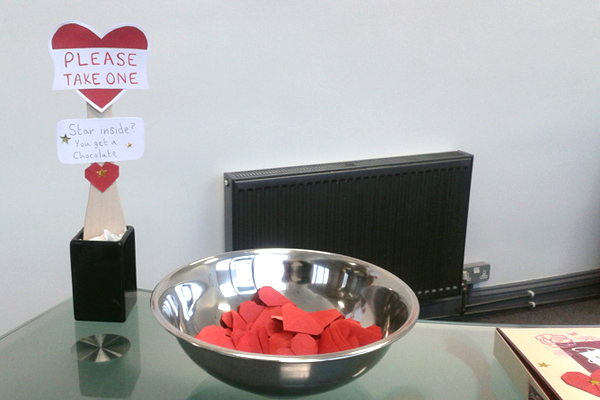 Valentine's Day Lucky Dip setup, in situ.