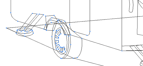 Wireframe of a section of Folding Caravan image