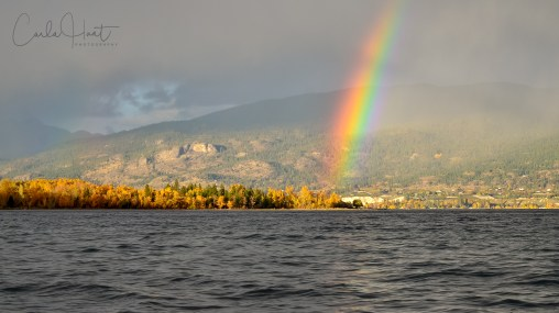 Rainbow and Fall Colours in Summerland, BC.