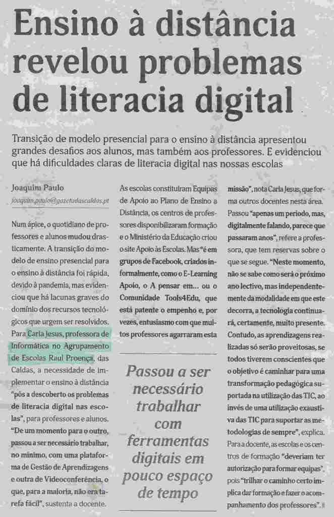 Gazeta das Caldas Aulas Online
