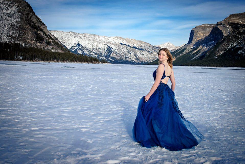 Alberta Graduation Photographer - Lake Minnewanka Formal Gown Portraits