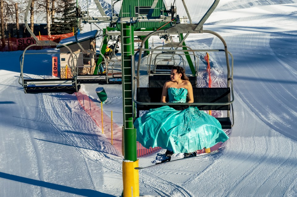 Chair Lift Grad Gown Snow Valley