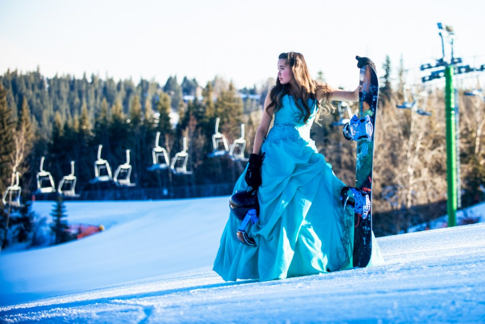 Ski Hill Grad Gown Snowboarder