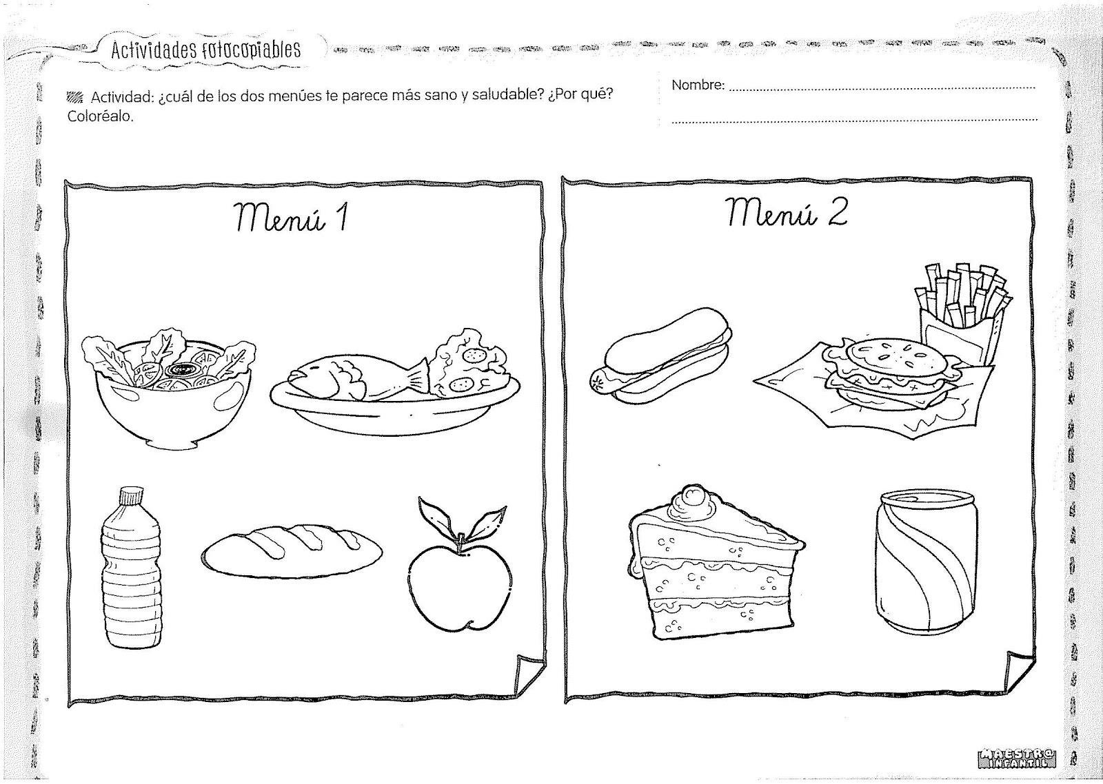 Alimentos Saludables Para Colorear