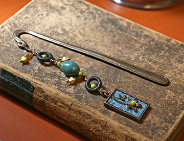 Bead, copper, and clay bookmark by Carla Schauer