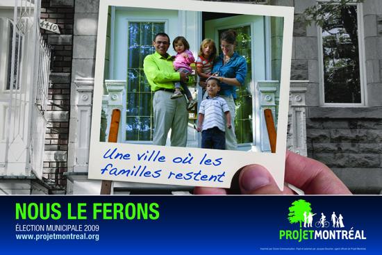 pancarte électorale de Projet Montréal en 2009