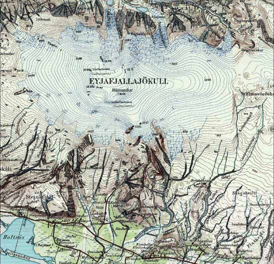 carte du volcan islandais eyjafjallajokull