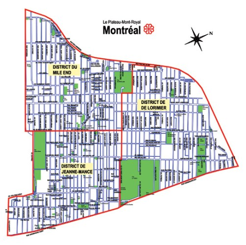 Le plan du Plateau-Mont-Royal
