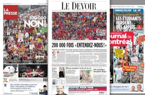 les premières pas des trois journaux les plus important au Québec au lendemain de la manifestation historique