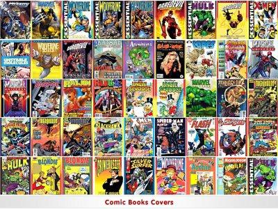 exemple de couverture de plusieurs série de comics