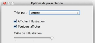 """Dans l'audiothèque, l'affichage des pochettes est désactivé par défaut, mais on peut l'activer en ouvrant les options de présentation (⌘J sur Mac, Ctrl J sur PC, ou dans le menu """"Présentation""""). Dans le petit pop-up qui s'ouvre, cocher """"Afficher l'illustration"""" pour ajouter la colonne et vous pouvez, comme dans iTunes 10, choisir de toujours l'afficher (par défaut, elle n'est présentée qu'à partir d'un certain nombre de morceaux) et changer sa taille."""