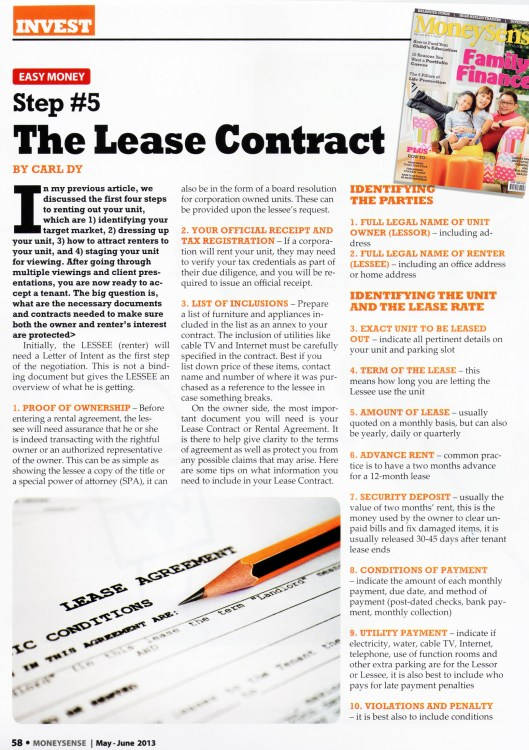 Step # 5 The Lease Contract Page One