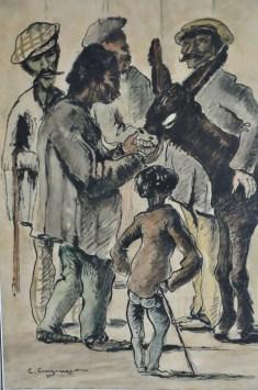 Gitanos amb ase - 1899 - Base litogràfica, tinta a ploma i aquarel·la sobre paper - 47 × 30 cm - Col·lecció privada