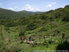Escala per pujar al cràter del Mont Mbapit