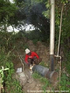Calentador de agua en el Top Camp