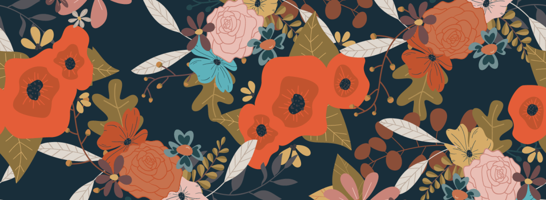 Bright red poppies pop out of this pattern. Bring some joy into your space with this colorful bouquet.