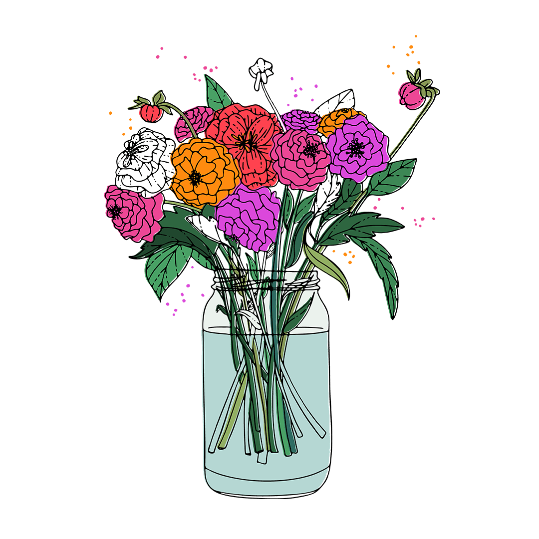 Illustrated Flowers in Mason Jar