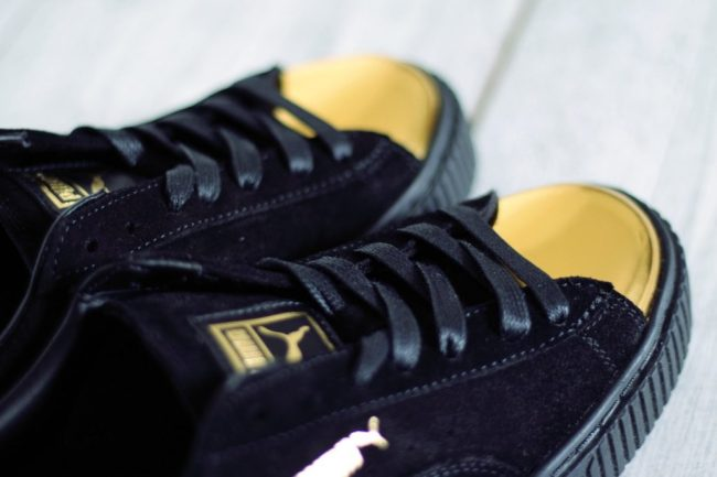 puma suede platform gold or