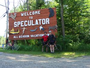 John, Mary and the Schwinn in New York's Adirondack Mountains.