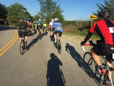 Riding up a moderate hill in the Tour de Valley