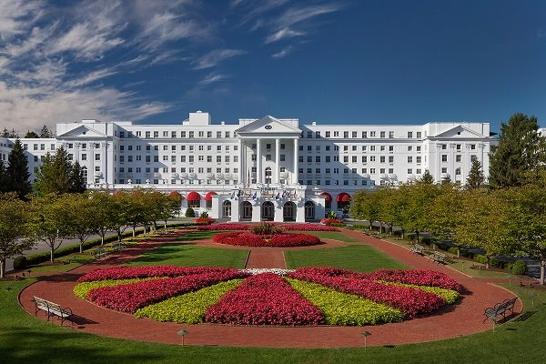 The front of the Greenbrier Resort in White Sulphur Springs, W Va