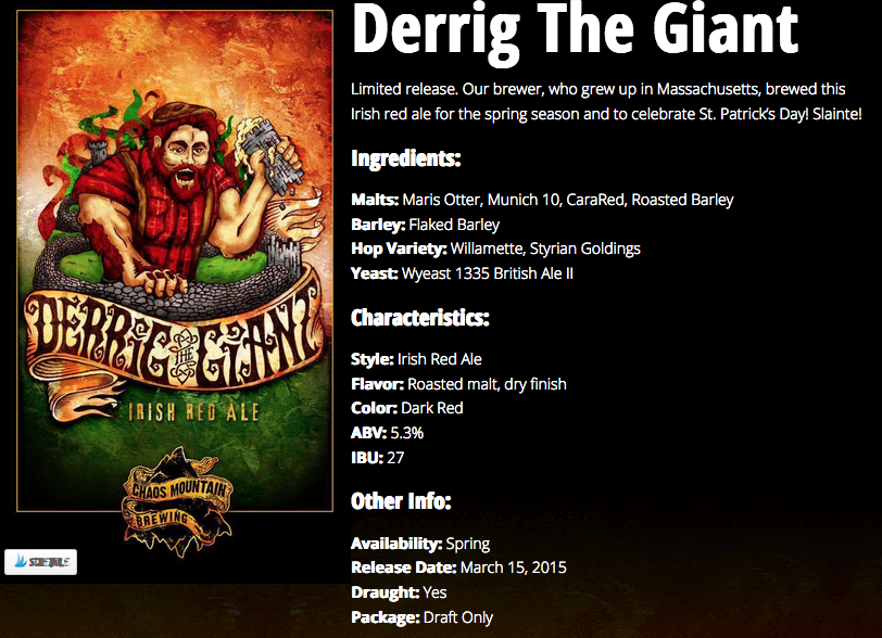 A screen shot shows the description of Derrig The Giant Red Ale from the brewery's website.