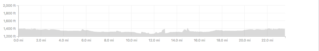 Strava shows the elevation change in our ride. It actually looks bumpier than it felt.