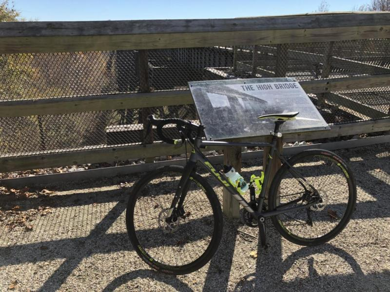 My Fuji Jari leaning against the sign describing how the bridge helped end the Civil War.