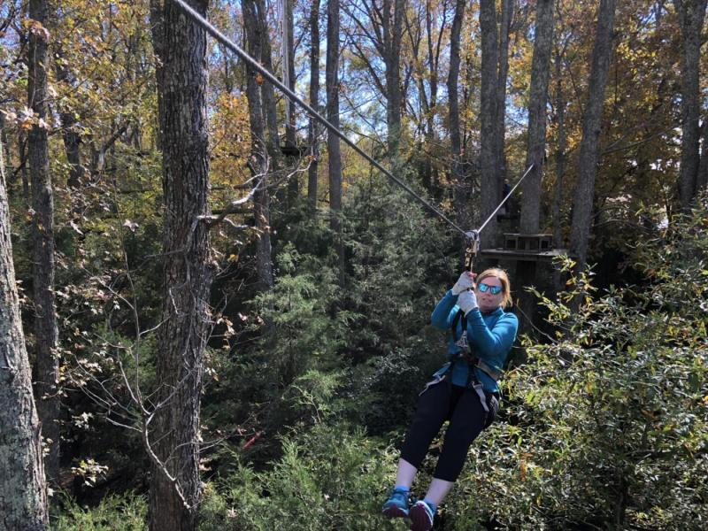 Mary on the zip line