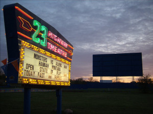23 Drive-In marquee and screen