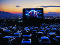 Charlton Heston as Moses in The Ten Commandments, drive-in theater, Utah, 1958.