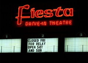 Fiesta Drive-In marquee, showing Closed for Relay