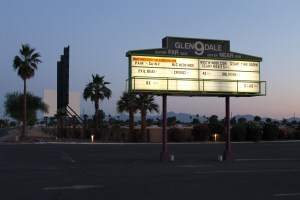Glendale 9 Drive-In marquee and screen