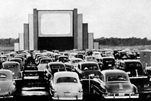 Cars facing a narrow drive-in screen at the Meadow Lark Drive-In in 1952.