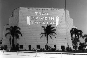 Old photo of Trail Drive-In Theatre screen