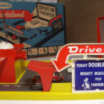 Front view of the Remco Movieland toy drive-in theater
