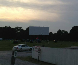 drive-in theater at sunset