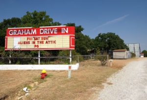 Graham Drive-In marquee and ticket booth