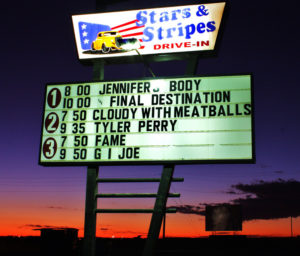 Stars and Stripes marquee at sunset