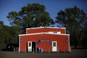 Red-paneled concession stand building at the Lakeport Drive-In