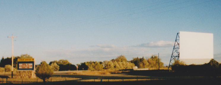 Panoramic look at the Star Drive-In marquee and screen