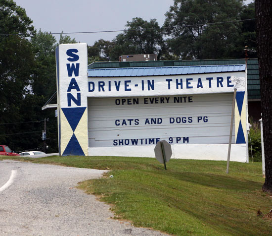 Swan Drive-In monument-style marquee