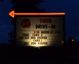 Tiger Drive-In sign marquee at night