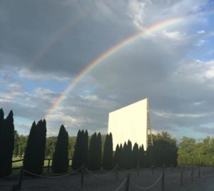 Double rainbow over drive-in screen