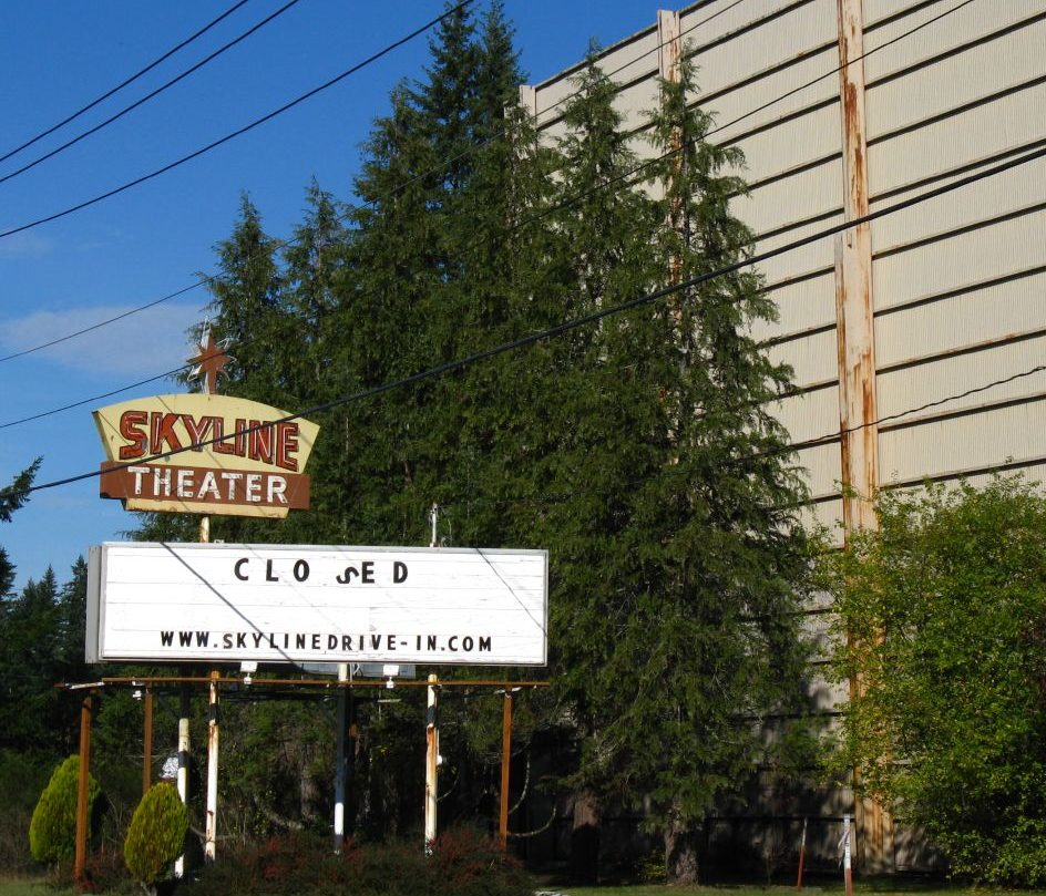 Skyline Drive-In marquee and screen