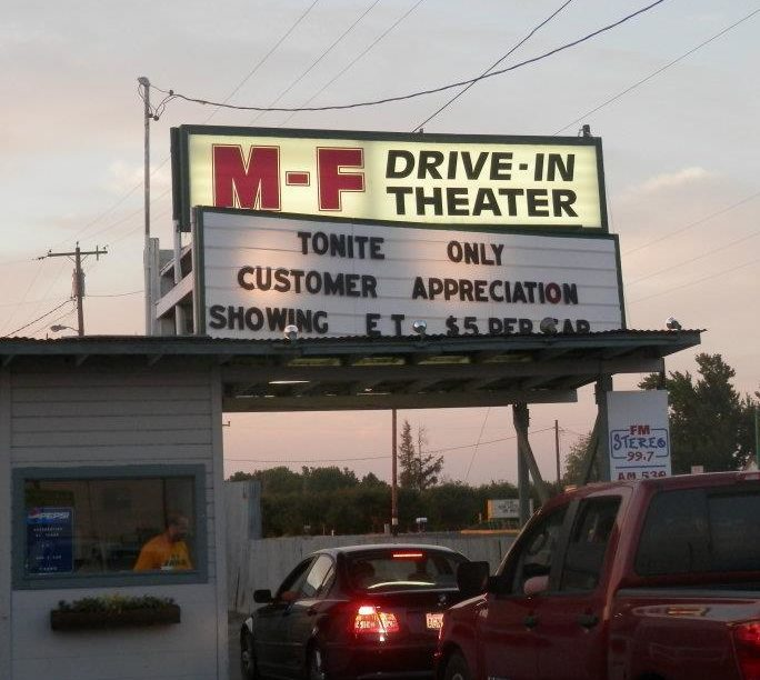 M-F Drive-In sign and box office