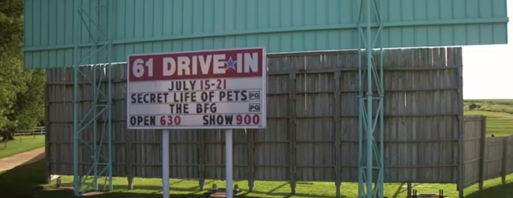 61 Drive-In marquee and screen