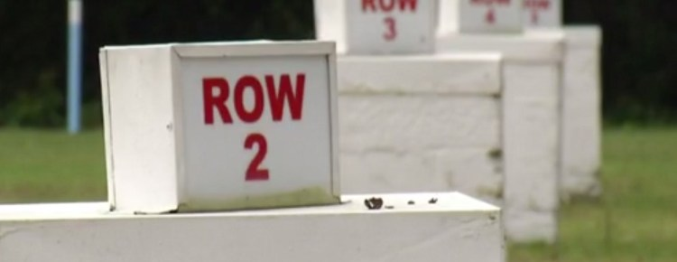 A series of Row signs at the Big Mo Drive-In