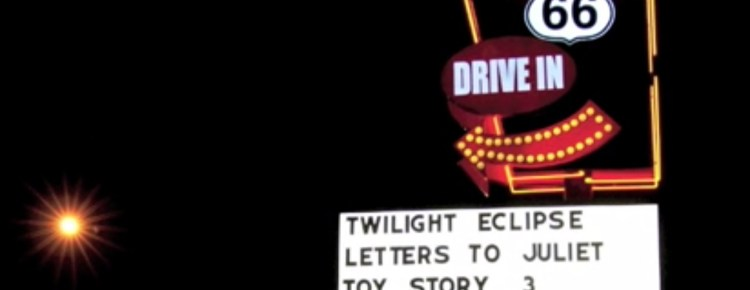 Route 66 Drive-In marquee at night