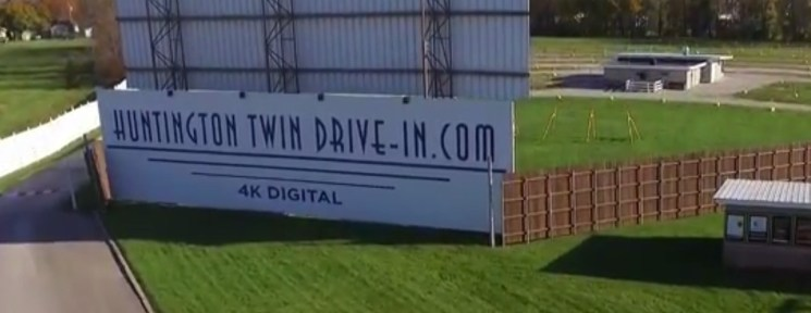 Huntington Twin Drive-In sign and main screen